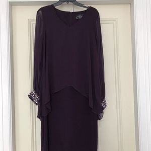 NWT Alex Evenings Cocktail Dress - Eggplant Sz 8